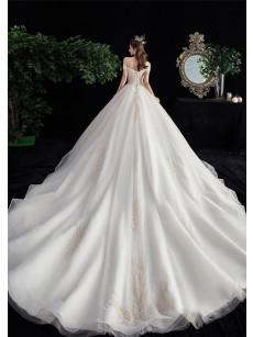 2020 Brush Train Wedding Dresses / Church Bateau Bride dresses GW-002