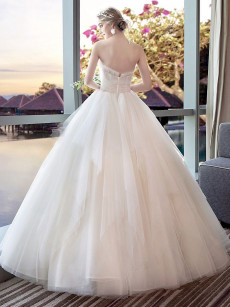 2020 Dressy Wedding Dresses / Zipper-Up Strapless Bridal dresses / Floor-Length Bridal Gowns GW-001