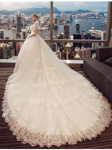 A-line High Collar Wedding Dresses, Brush Train Bridal Gowns GW-026