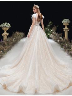 A-line Empire Simple Wedding Dresses, Glamorous Brush Train Bridal Dresses GW-031