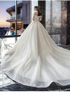 Glamorous Hand Beading Wedding Dresses,Chapel Train Bridal Dresses GW-020