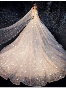 A-line Bateau Lace Wedding Dresses, Off the Shoulder Star Twinkle Bridal Gowns GW-029