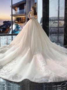 Strapless Brush Train Wedding Dresses, Chapel Train Bride Ball Dresses GW-018