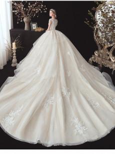 Jewel Tassel Wedding Dresses, Chapel Train Bridal Dresses GW-012