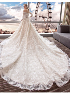 A-line Off the Shoulder Wedding Dresses, Chapel Train Bride Gowns GW-017