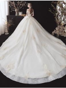 A-line Lace Wedding Dresses, Off the Shoulder Chapel Train Bridal Gowns GW-025