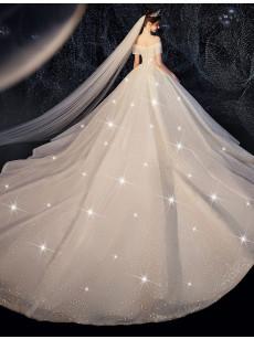 A-line Bateau Wedding Dresses, Glamorous Brush Train Bridal Dresses GW-030