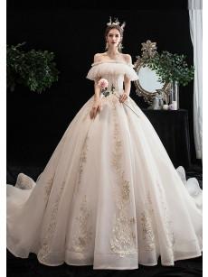 2020 Elegant Brush Train Wedding Dresses Church Bateau Bride Dresses GW-003