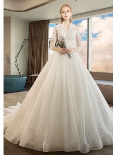 2020 Elegant Brush Train Wedding Dresses Church V-Neck bridal Dresses with Sleeves GW-004