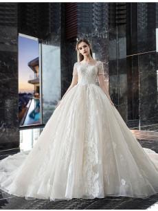 A-line Chapel Train Bride Dresses Lace Up Wedding Dresses GW-021
