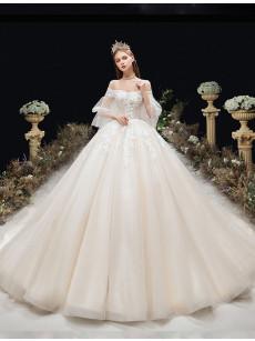 A-line Chapel Train Wedding Dresses, Lace Bateau Bridal Dresses GW-033