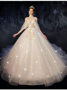 A-line Spaghetti Wedding Dresses, V-neck Bridal Dresses GW-032