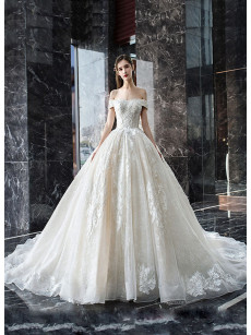 Cathedral Beading Wedding Dresses, Bateau Neckline Bride Dresses GW-019
