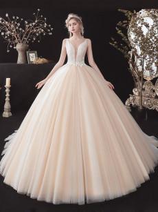 Champagne Spaghetti Wedding Dresses, lovely V-neck Bride Dresses GW-015