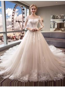 Elegant A-line Wedding Dresses, Long Sleeves Chapel Train Bridal Gowns GW-023