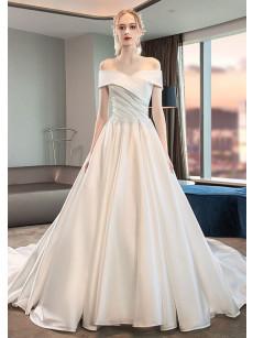 Elegant Satin Brush Train bridel Dresses Church Bateau Wedding Dresses GW-005