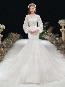 Mermaid Bride Dresses with Sleeves Brush Train Wedding Dresses GW-006