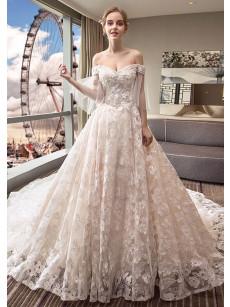 New Arrival Lace Church Bride Dresses Off the Shoulder Wedding Dresses GW-007