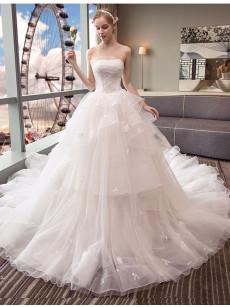 Strapless Chapel Train Wedding Dresses, A-line Bride Ball Gown Dresses GW-016